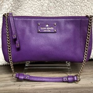 Kate Spade Shoulder Bag Purple with Gold chain